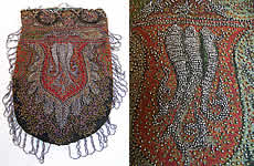 Antique Victorian Paisley Shawl Steel Cut Beaded Purse
