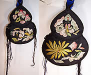 Antique Chinese Gourd Silk Embroidered Pouch Purse Bag