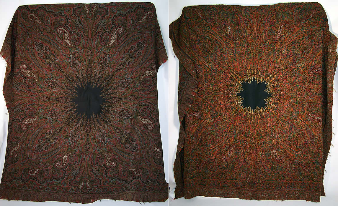 Victorian Antique Jacquard Hand Loom Wool Black Star Center Paisley Shawl front & back