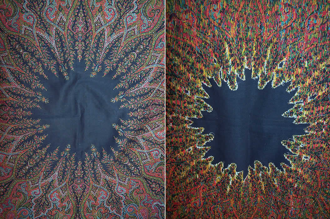 Victorian Antique Jacquard Hand Loom Wool Black Star Center Paisley Shawl the center front & back