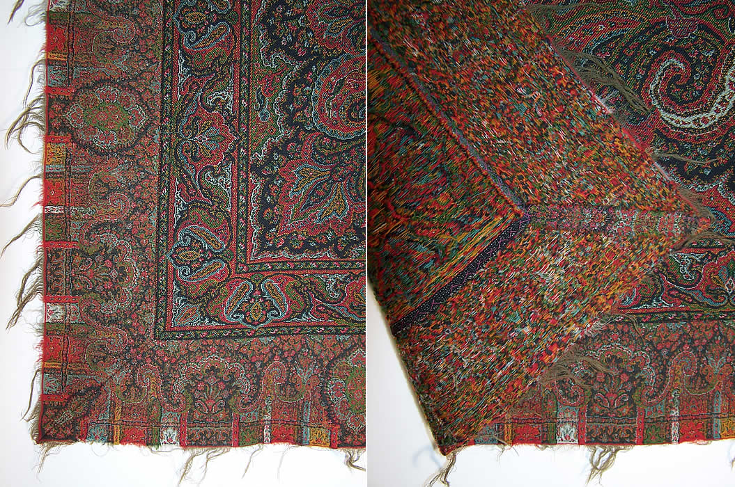 Victorian Antique Jacquard Hand Loom Wool Black Star Center Paisley Shawl the edge front & back