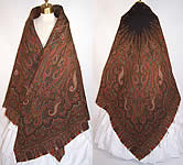 Victorian Antique Jacquard Hand Loom Wool Black Star Center Paisley Shawl