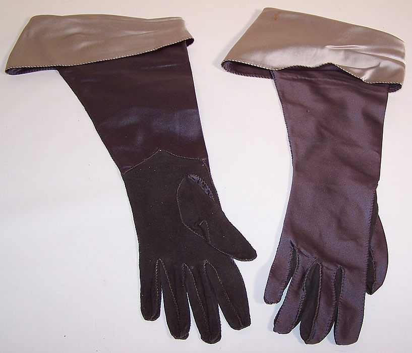 Vintage Gray Silver Satin Suede Leather Ladies Evening Gauntlet Gloves