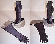 Vintage 1950s Gray Silver Satin Suede Leather Ladies Evening Gauntlet Gloves