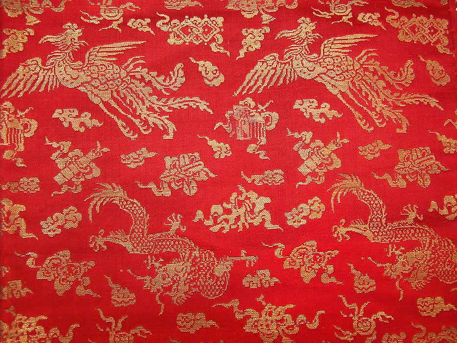 Antique Chinese Dragon Pheasant Red Gold Silk Brocade Tassel Tapestry Tablecloth