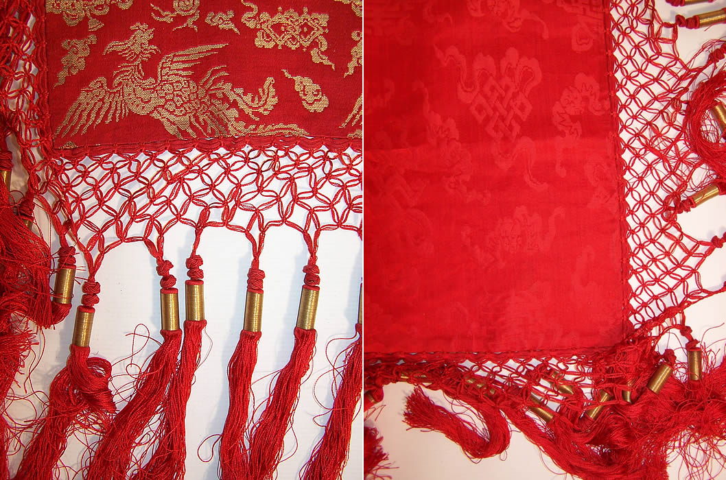 Antique Chinese Dragon Pheasant Red Gold Silk Brocade Tassel Tapestry Tablecloth two close up views