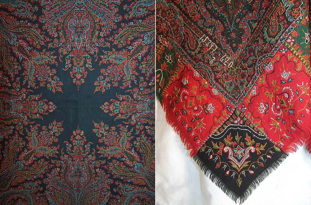Antique Victorian Signed Kashmir Loomed Embroidered Pieced Paisley Shawl two close up views