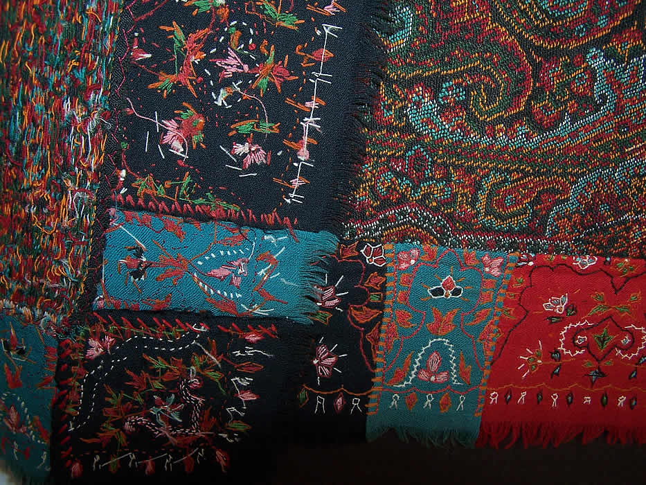 Antique Victorian Signed Kashmir Loomed Embroidered Pieced Paisley Shawl close up.