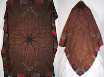 Antique Victorian Signed Kashmir Loomed Embroidered Pieced Paisley Shawl