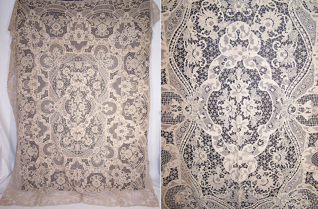 Antique Point de Venise Lace Cutwork Banquet Tablecloth with 12 Napkins