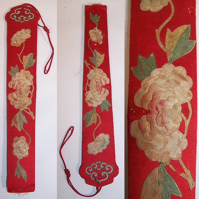 Antique Chinese Red Silk Peony Flower Applique Fan Case Holder Purse