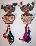 Antique Chinese Silk Embroidered Wedding Bed Bottle Vase Wall Hangings