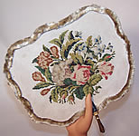 1850 Victorian Antique Needlepoint Petitpoint Embroidered Handscreen Fixed Fan