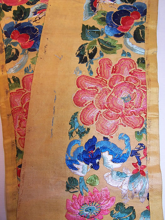 Antique Chinese Silk Embroidered Forbidden Stitch Peony Robe Sleeve Band Cuffs Pair