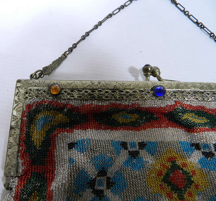 Titanic Era Large Antique Colorful Micro Beaded Jewel Frame Purse