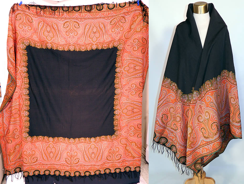 Victorian Antique Jacquard Loom Wool Large Black Square Center Paisley Shawl. It is made of jacquard loomed woven wool done in strong vibrant vivid colors of orange, red, gold, green, turquoise blue, black and white.