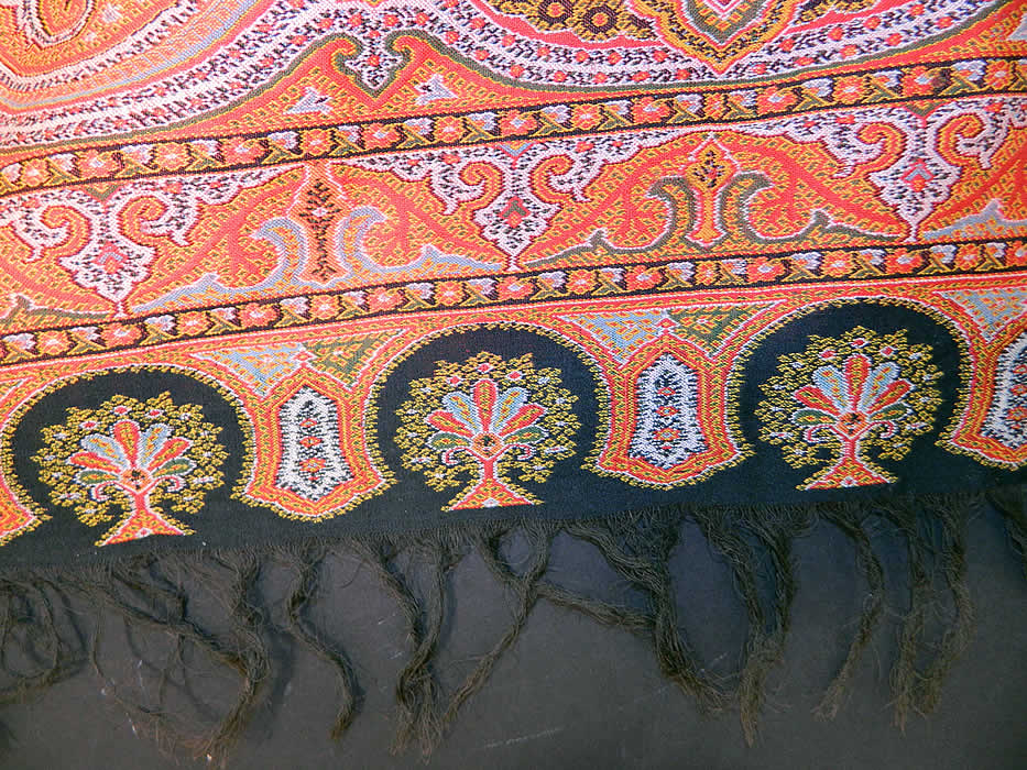 Victorian Antique Jacquard Loom Wool Large Black Square Center Paisley Shawl. These paisley shawls were made in Kashmir and Europe in Scotland at Paisley itself.