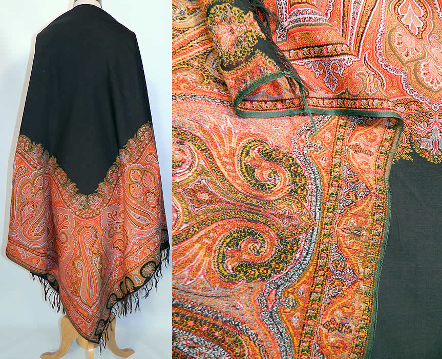Victorian Antique Jacquard Loom Wool Large Black Square Center Paisley Shawl. The square shawl measures 68 by 68 inches. It is in good condition, with no holes or repairs. This is a wonderful piece of wearable antique paisley textile art!