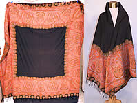 Victorian Antique Jacquard Loom Wool Large Black Square Center Paisley Shawl