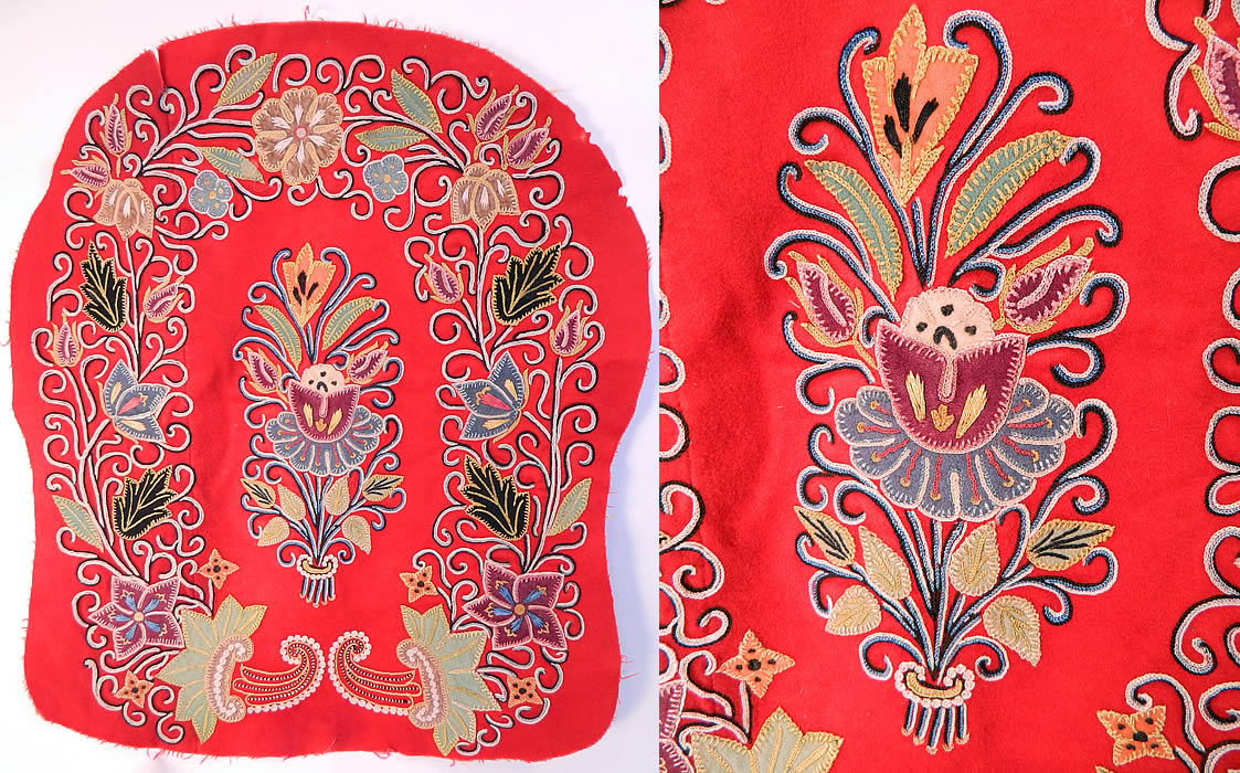 Antique Resht Rasht Iran Embroidered Chain Stitch Applique Wool Fabric. It is made of a red wool fabric background, with colorful pieces of felted wool cutout pieced applique chain stitch hand embroidery work done in a decorative scrollwork floral leaf design.