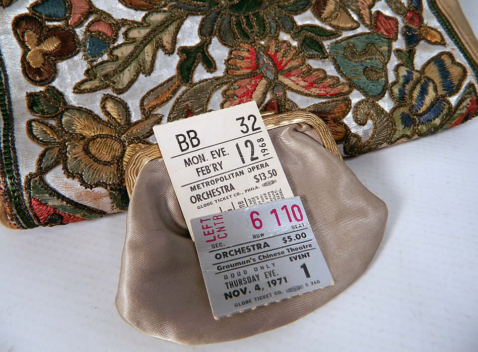 Vintage Art Deco Floral Stumpwork Embroidered Silver Leather Evening Purse. I found two ticket stubs inside from the Metropolitan Opera 1968 and Grauman's Chinese Theatre 1971.
