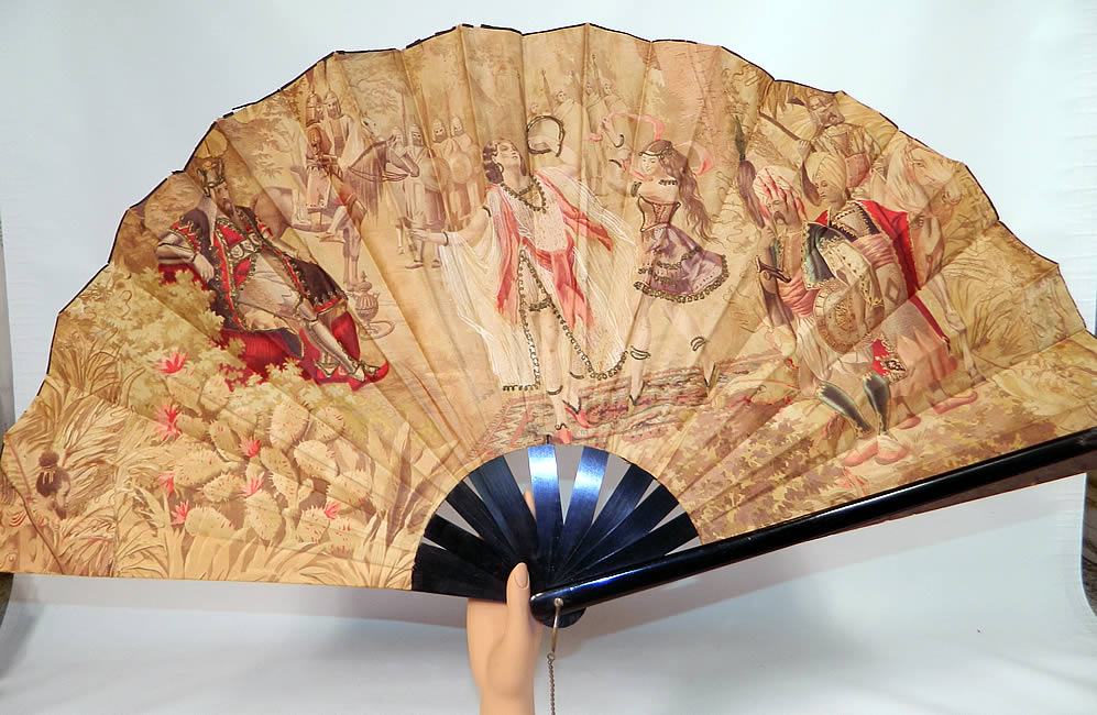 Victorian Antique Ottoman Large Chintz Figural Belly Dancer Harem Embroidered Fan. It is made of a muted sepia color chintz fabric, with red highlights, figural scenes of North Africa, belly dancers, solider's, sultans, harem, African indigenous tribal people, horses and cactus.