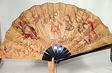 Victorian Antique Ottoman Large Chintz Figural Belly Dancer Harem Embroidered Fan.