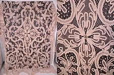 Victorian Antique  Battenburg Tape Lace Bedspread Tablecloth Textile Fabric