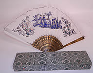 Antique Chinese Hand Painted Silver Leaf Feathers Gold Lacquer Fan & Box