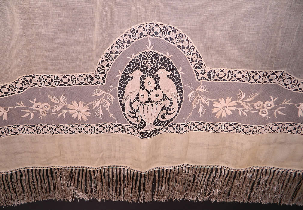 victorian antique point de venise lace floral bird net fring