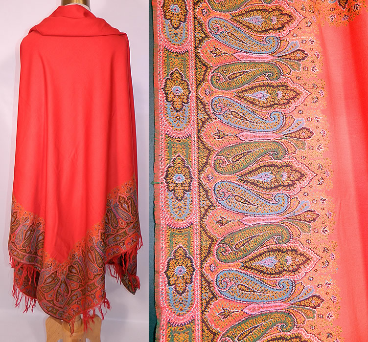 Victorian Antique Jacquard Loom Wool Large Red Square Center Paisley Shawl. This stunning shawl has wonderful workmanship and detail, with a large red wool square center, decorative red fringe border trim along the top and bottom, with a red selvage side edging.