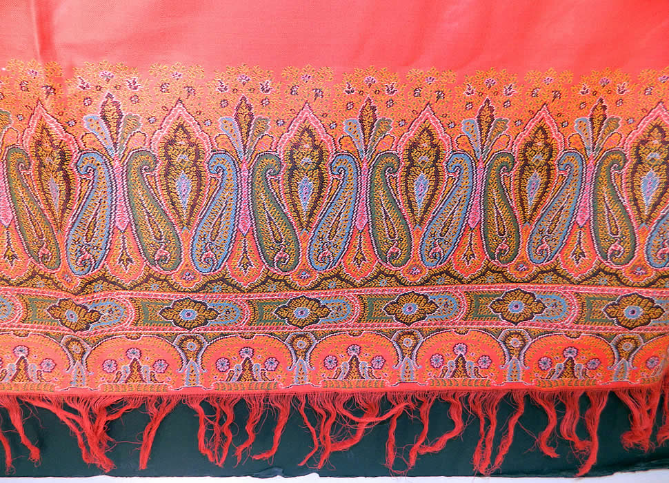 Victorian Antique Jacquard Loom Wool Large Red Square Center Paisley Shawl. The square shawl measures 70 by 70 inches. It is in good condition, with no holes or repairs. This is a wonderful piece of wearable antique paisley textile art!