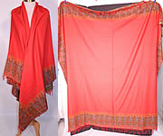 Victorian Antique Jacquard Loom Wool Large Red Square Center Paisley Shawl