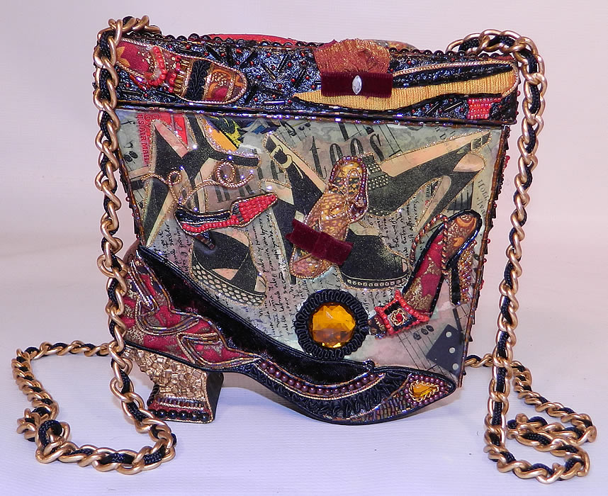 Vintage Mary Frances Paper Mache Decoupage Wooden Shoe Beaded Box Purse. This vintage Mary Frances paper mache decoupage wooden shoe beaded box purse dates from  1990.