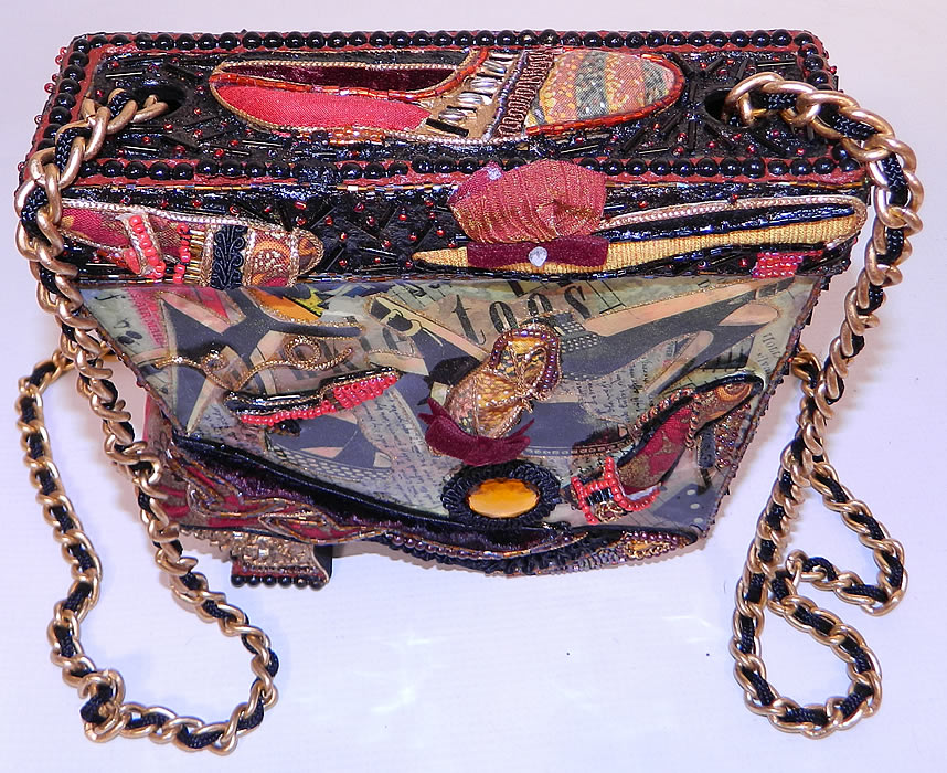 Vintage Mary Frances Paper Mache Decoupage Wooden Shoe Beaded Box Purse. It is made of a carved wood shoe style box shape and decorated with colorful paper mache decoupage lacquer work, beadwork and fabric ribbon trims.