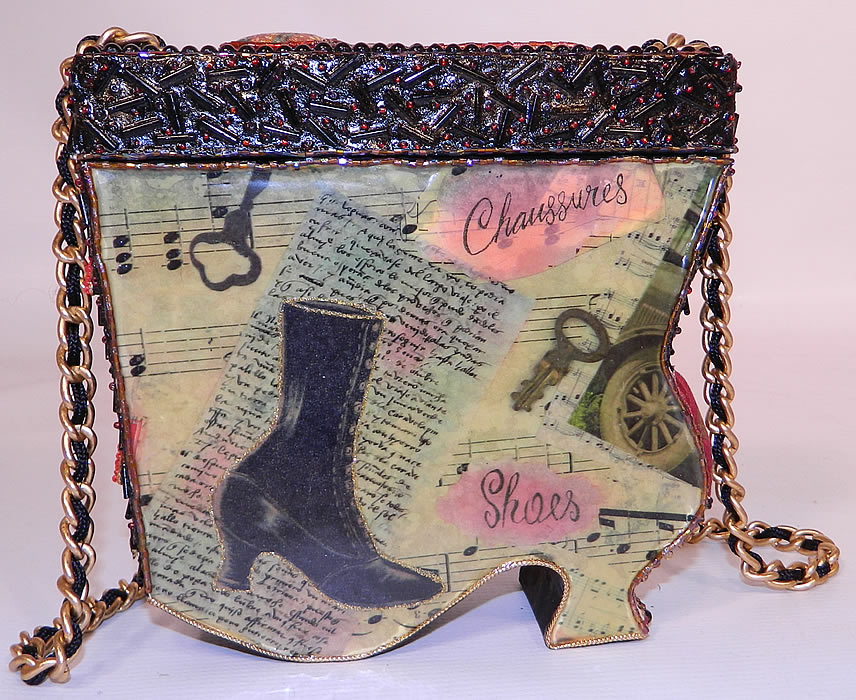 Vintage Mary Frances Paper Mache Decoupage Wooden Shoe Beaded Box Purse. This beautiful beaded embellished handbag purse has a vintage shoe, antique boot theme, with a gold chain link, black silk rope cord long carrying strap and removable top lid.