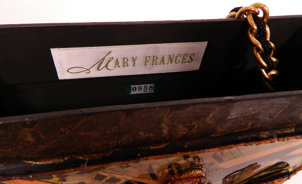 "Vintage Mary Frances Paper Mache Decoupage Wooden Shoe Beaded Box Purse. There is a ""Mary Frances"" designer label inside and numbered tag 0858 which these were  a made in a limited edition and then retired"