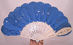 Victorian Blue Silk Feather Silver Sequin Carved Pierced Jenny Lind Fan