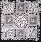 Victorian Antique Filet Bobbin Lace Renaissance Cupid Linen Cutwork Tablecloth