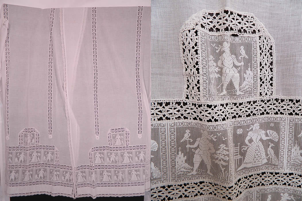 Victorian Antique White Figural Filet Lace Net Drapery Curtain Panel Pair. This Victorian era antique white figural filet lace net drapery curtain panel pair date from 1900.
