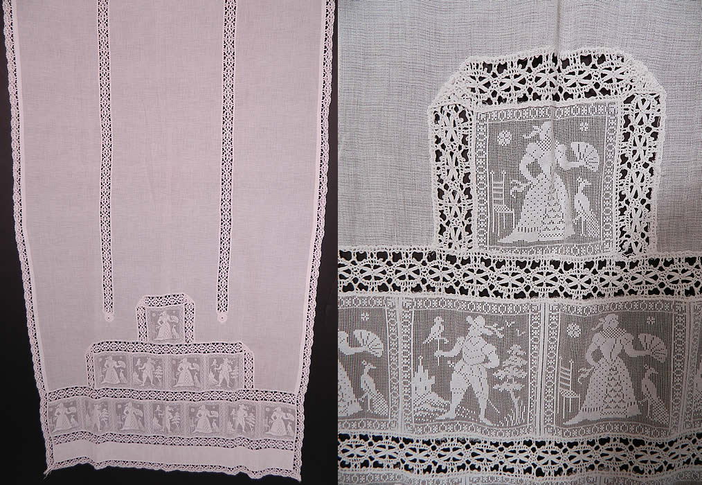 Victorian Antique White Figural Filet Lace Net Drapery Curtain Panel Pair.