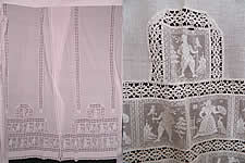 Victorian Antique White Figural Filet Lace Net Drapery Curtain Panel Pair