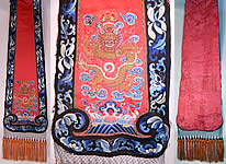 Antique Chinese Chaoqun Court Apron Skirt Panel Embroidered Gold Dragon