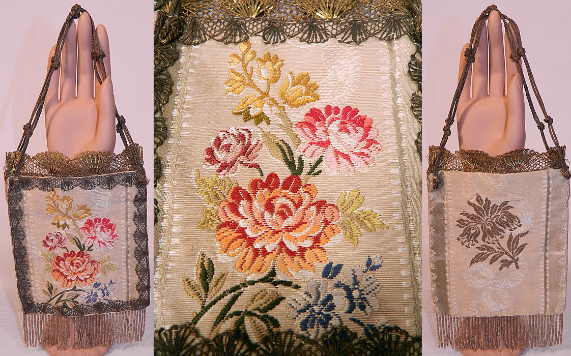 Antique 18th Century French Silk Damask Brocade Fabric Gold Lace Purse. This antique French silk damask brocade fabric gold lace purse dates from the late 18th century. It is hand stitched, made of a colorful woven silk damask brocade French fabric with a floral pattern design and gold metallic lace trim edging, a gold rope knotted strap handle on top, gold beaded fringe trim bottom and is fully lined in taupe color silk fabric inside.