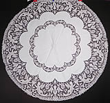 Victorian Antique Point de Venise Lace Renaissance Cupid Linen Round Tablecloth