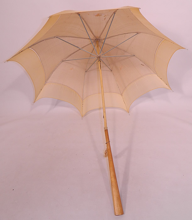 Edwardian Ecru Cream Silk Embroidered Folding Wood Handle  Pagoda Parasol.  This pretty parasol summer umbrella has a pagoda dome shape.