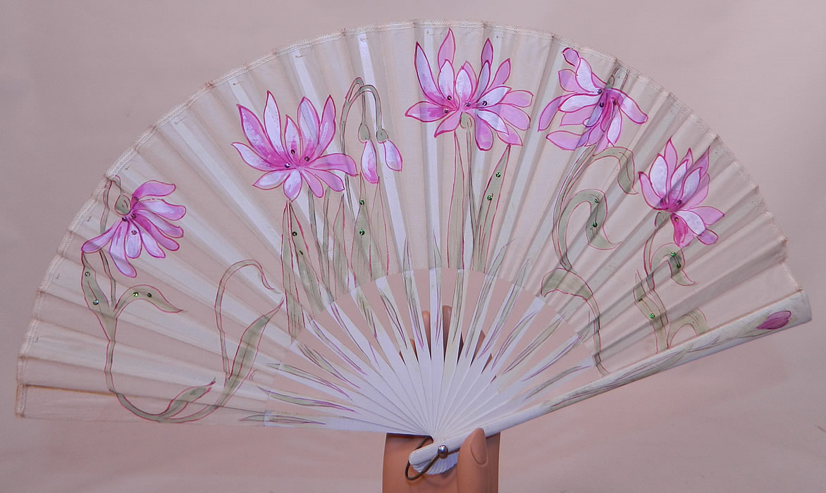 Art Nouveau Japonism Hand Painted Flower Sequin Silk Pleated Folding Fan. This Edwardian era antique Art Nouveau Japonism hand painted flower sequin silk pleated folding fan dates from 1910.