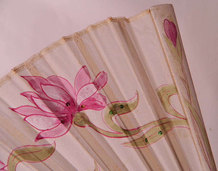 Art Nouveau Japonism Hand Painted Flower Sequin Silk Pleated Folding Fan. This fabulous folding fan has an Art Nouveau, Japonism influenced design, with a silver loop ring at the bottom holding the fan together.