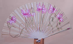 Art Nouveau Japonism Hand Painted Flower Sequin Silk Pleated Folding Fan