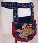 Victorian Antique Printed Velvet Soutache Embroidered Belted Pouch Purse